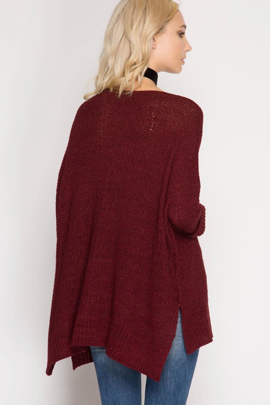 She + Sky High-Low Slouchy Sweater - Side Cropped Image
