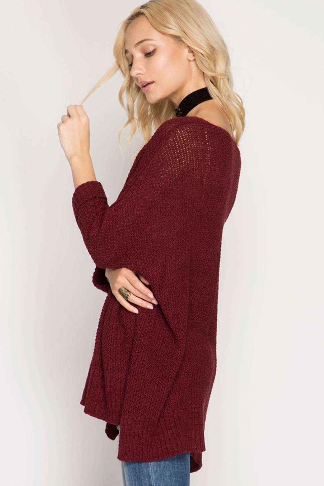 She + Sky High-Low Slouchy Sweater - Front Full Image