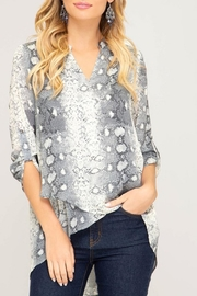 She + Sky High-Low Snakeskin Blouse - Product Mini Image