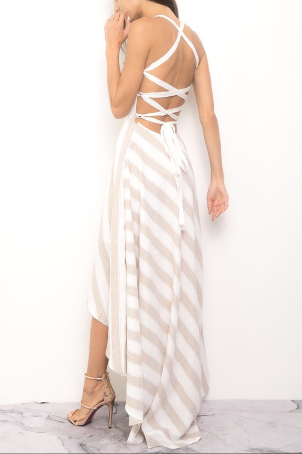 Blithe  High-Low Stripe Dress - Side Cropped Image