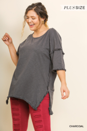 umgee  HIGH LOW TUNIC W/ FRENGE HEMS - Product Mini Image
