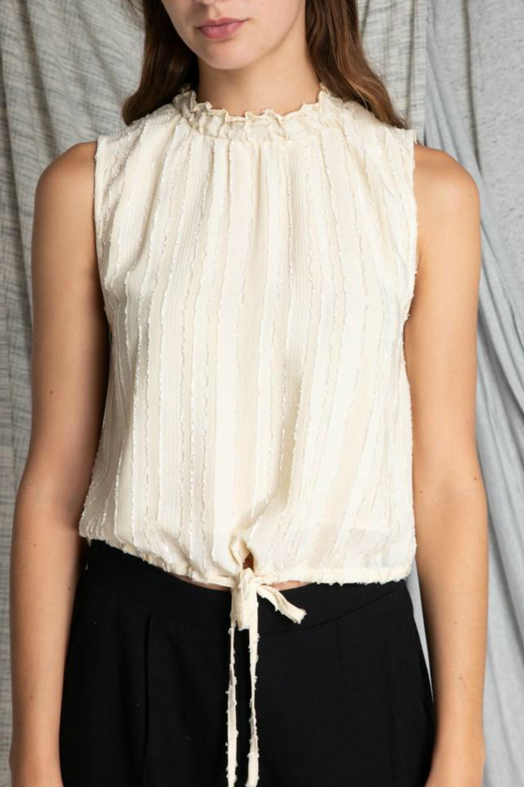 Grade & Gather  High Neck Chiffon Blouse - Front Cropped Image
