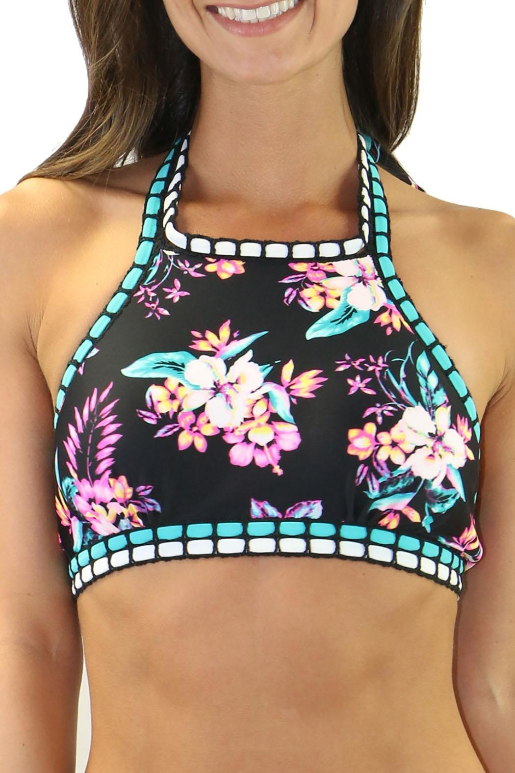 Heat Swimwear High Neck Floral - Front Cropped Image