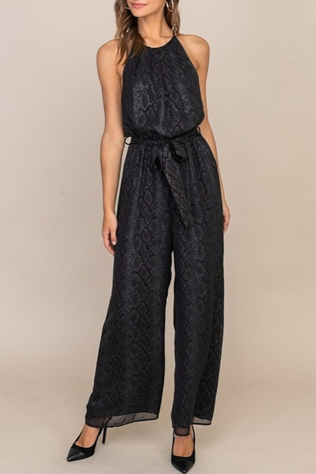 Lush  High Neck Jumpsuit - Front Cropped Image