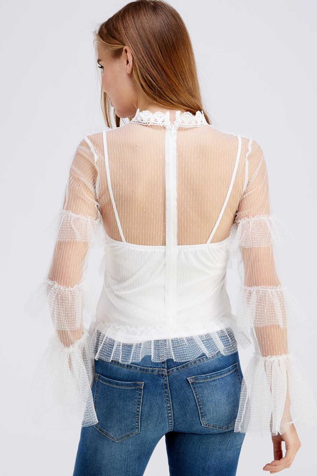 A Peach High-Neck Mesh Blouse - Back Cropped Image
