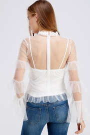 A Peach High-Neck Mesh Blouse - Back cropped