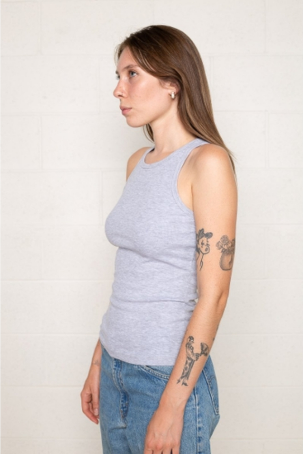 nlt High Neck Racer Front Baby Rib Tank - Front Cropped Image