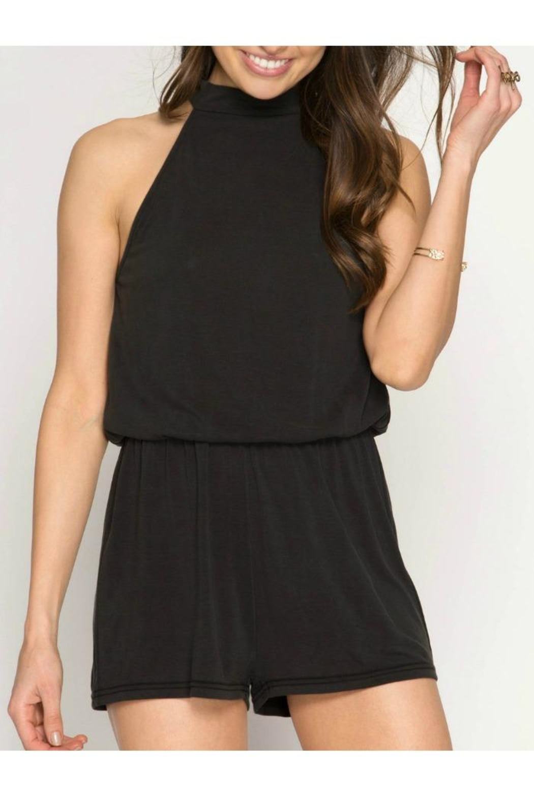 85810939deea She + Sky High Neck Romper from Massachusetts by Moxy Boutique ...