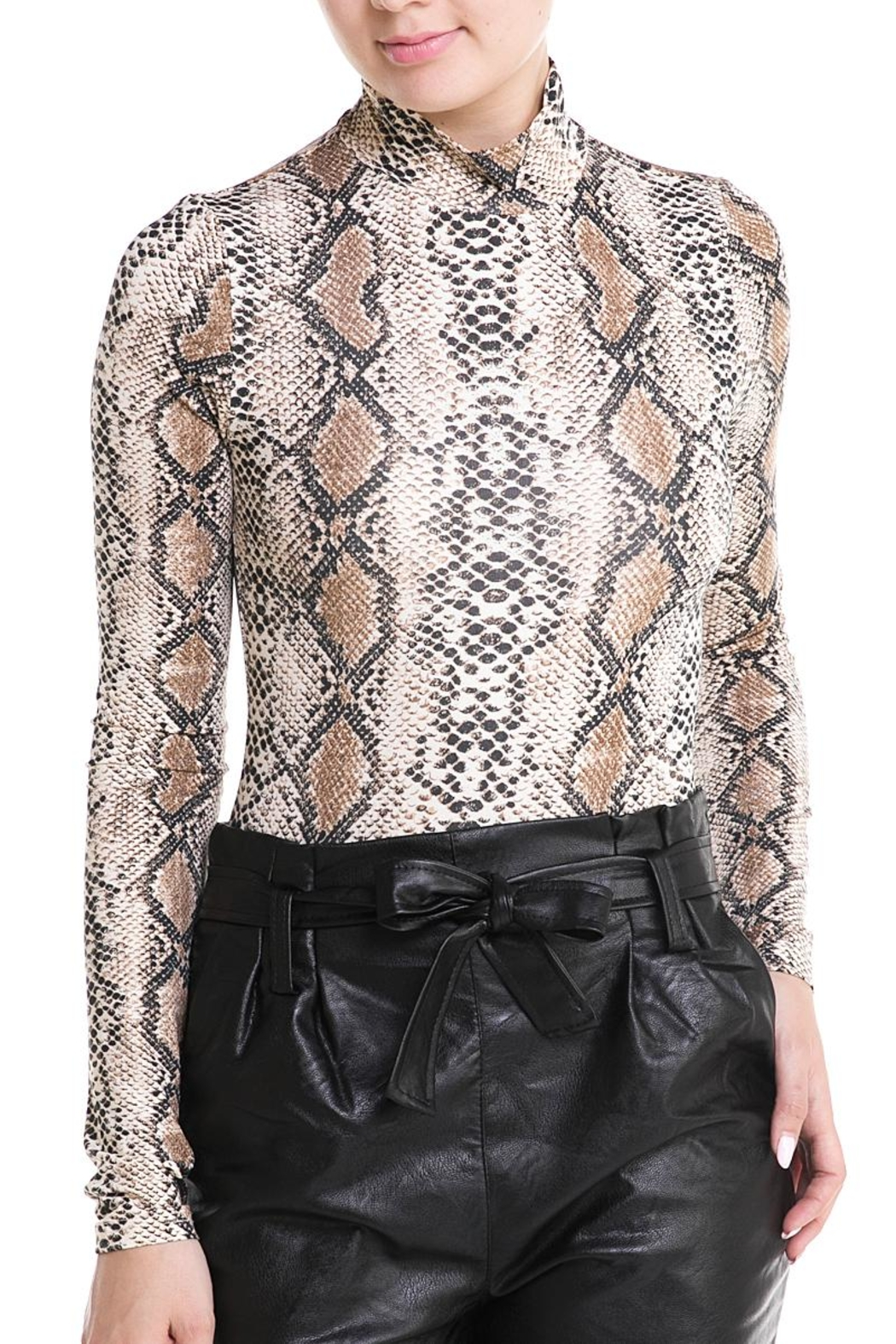 Renamed Clothing High-Neck Snake Bodysuit - Front Cropped Image