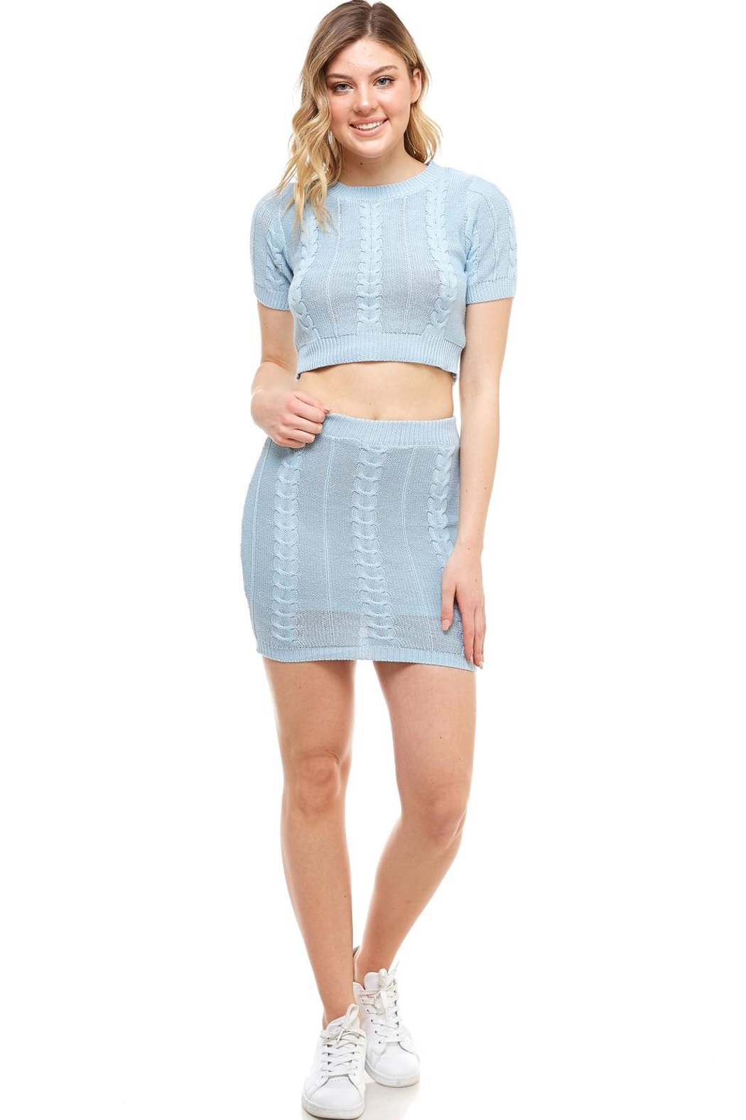 Hot & Delicious High-Neck Sweater Skirt-Set - Main Image