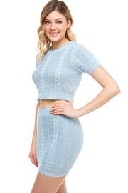 Hot & Delicious High-Neck Sweater Skirt-Set - Front full body