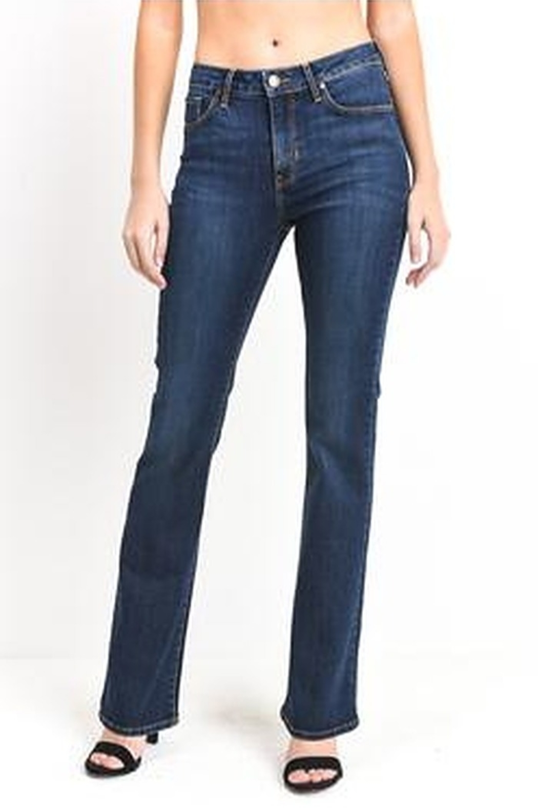 Just Black Denim High Rise Boot Cut Jeans - Front Cropped Image
