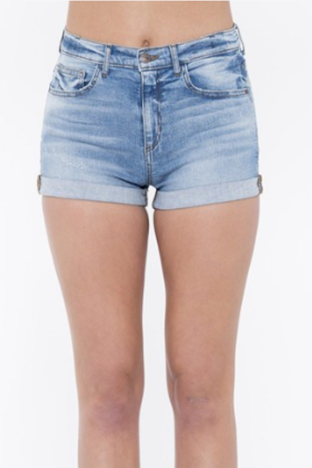 Sneak Peak High Rise Boyfriend Shorts with Rolled Up Hem - Front Full Image