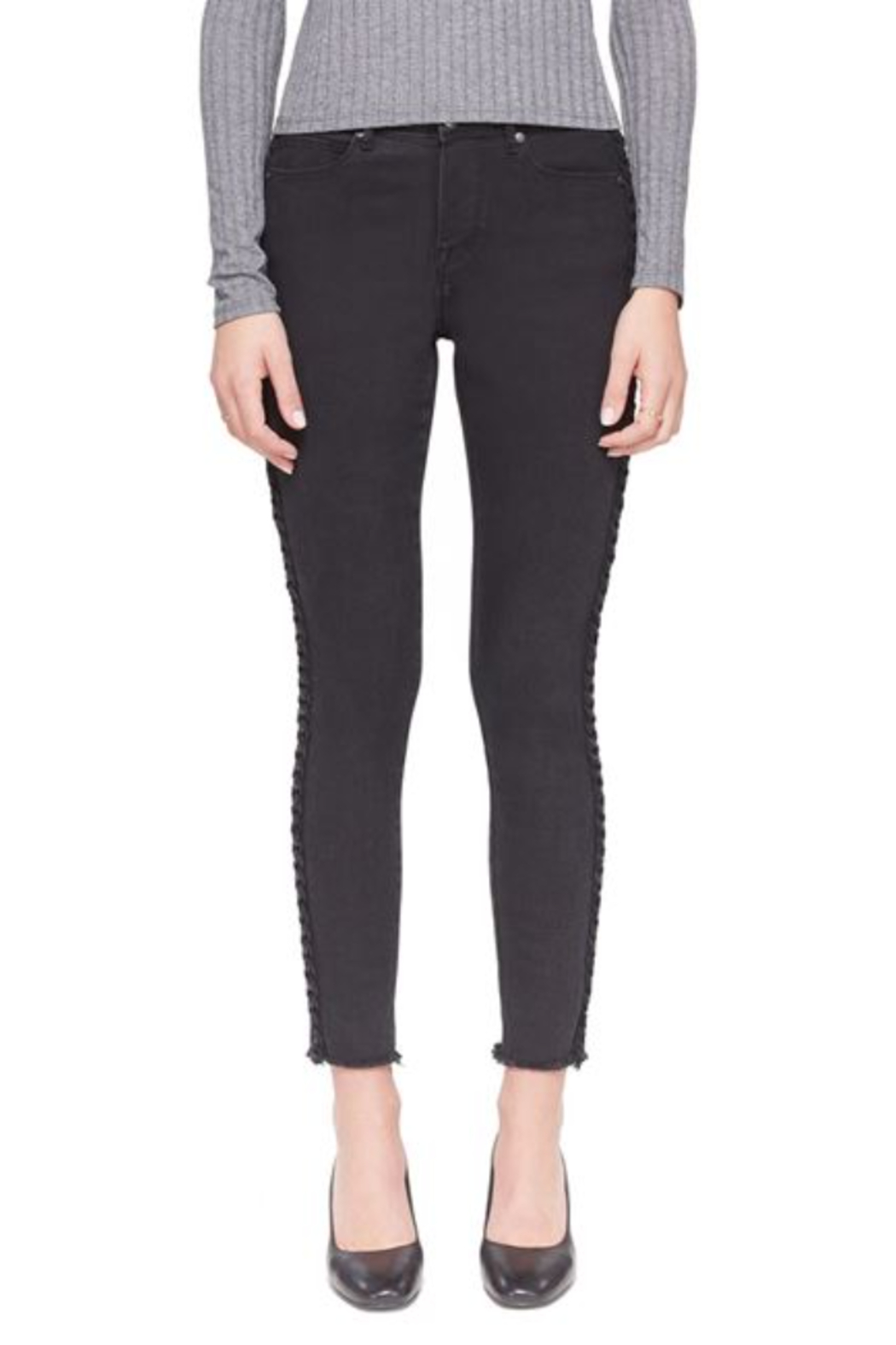 Lola Jeans HIgh Rise Braided Black Skinny  Jean - Front Full Image