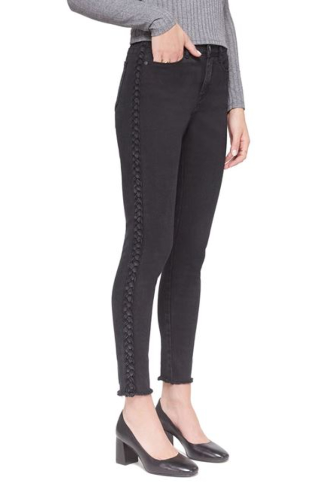 Lola Jeans HIgh Rise Braided Black Skinny  Jean - Front Cropped Image