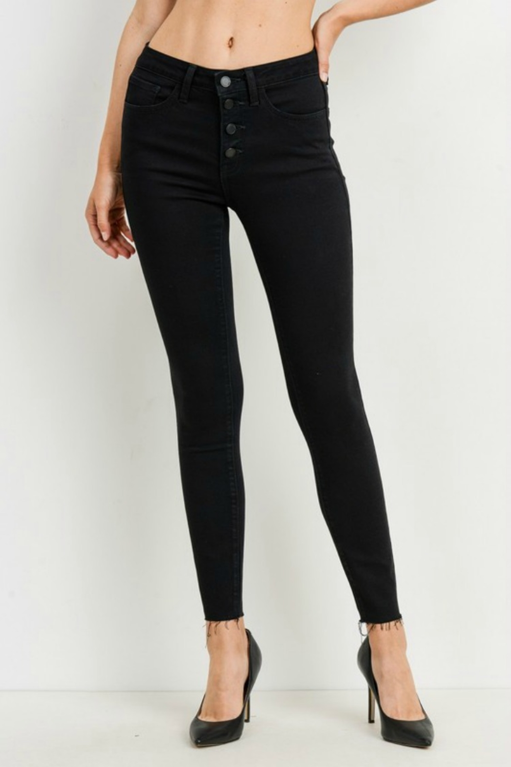 just black HIGH RISE BUTTON DOWN SKINNY - Front Cropped Image