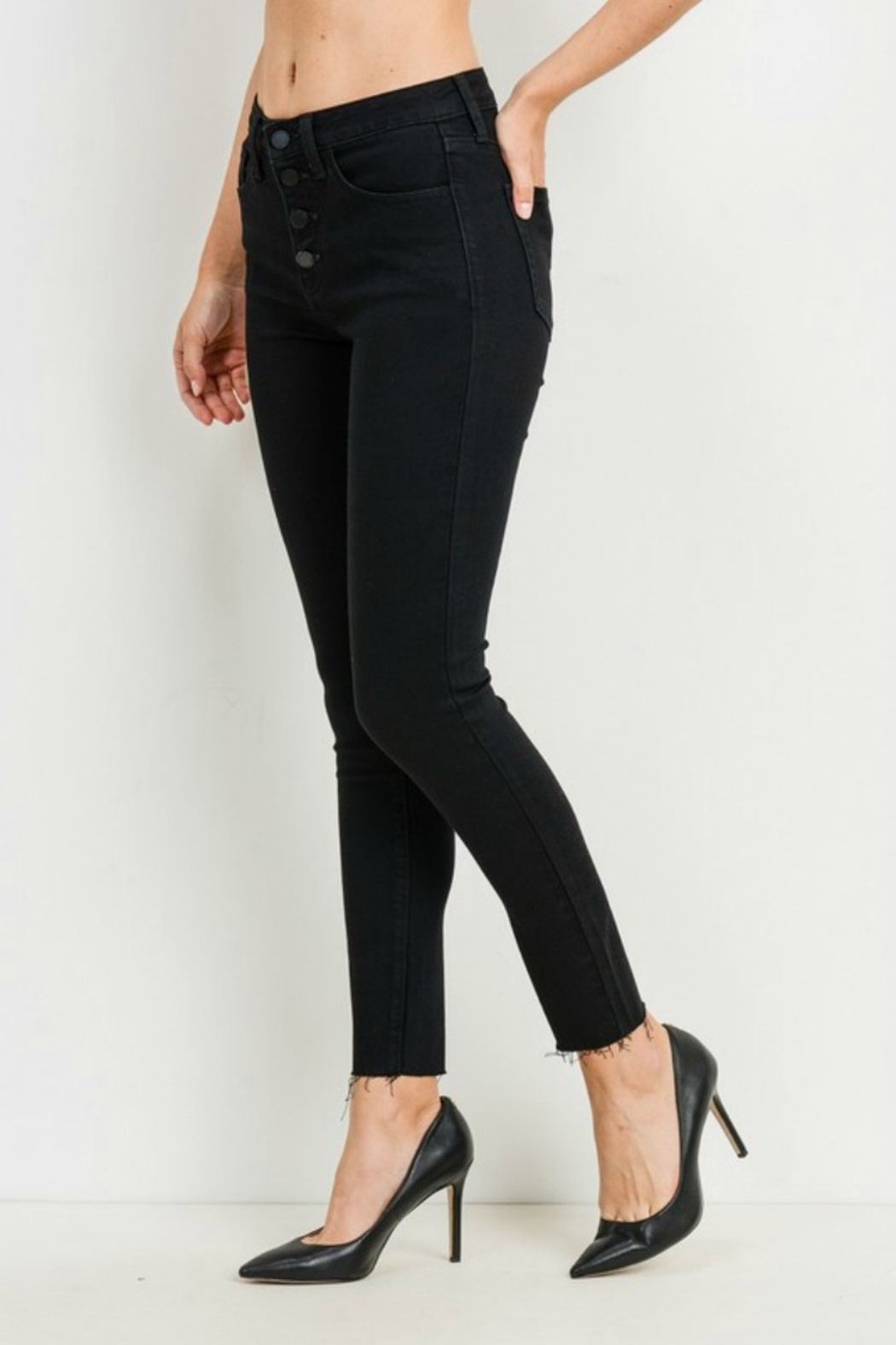 just black HIGH RISE BUTTON DOWN SKINNY - Front Full Image
