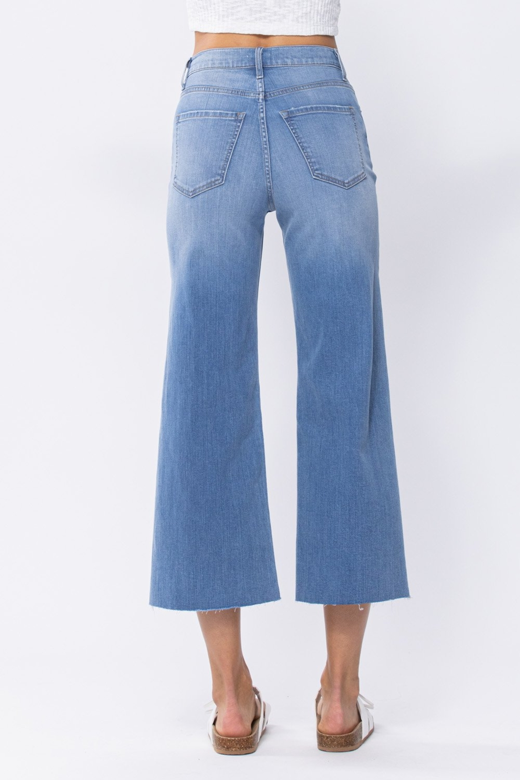 Sneak Peak High Rise Cropped Wide Leg Jeans - Front Full Image