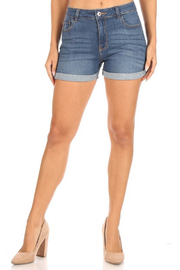 American Fit High Rise Cuffed Denim Short - Product Mini Image
