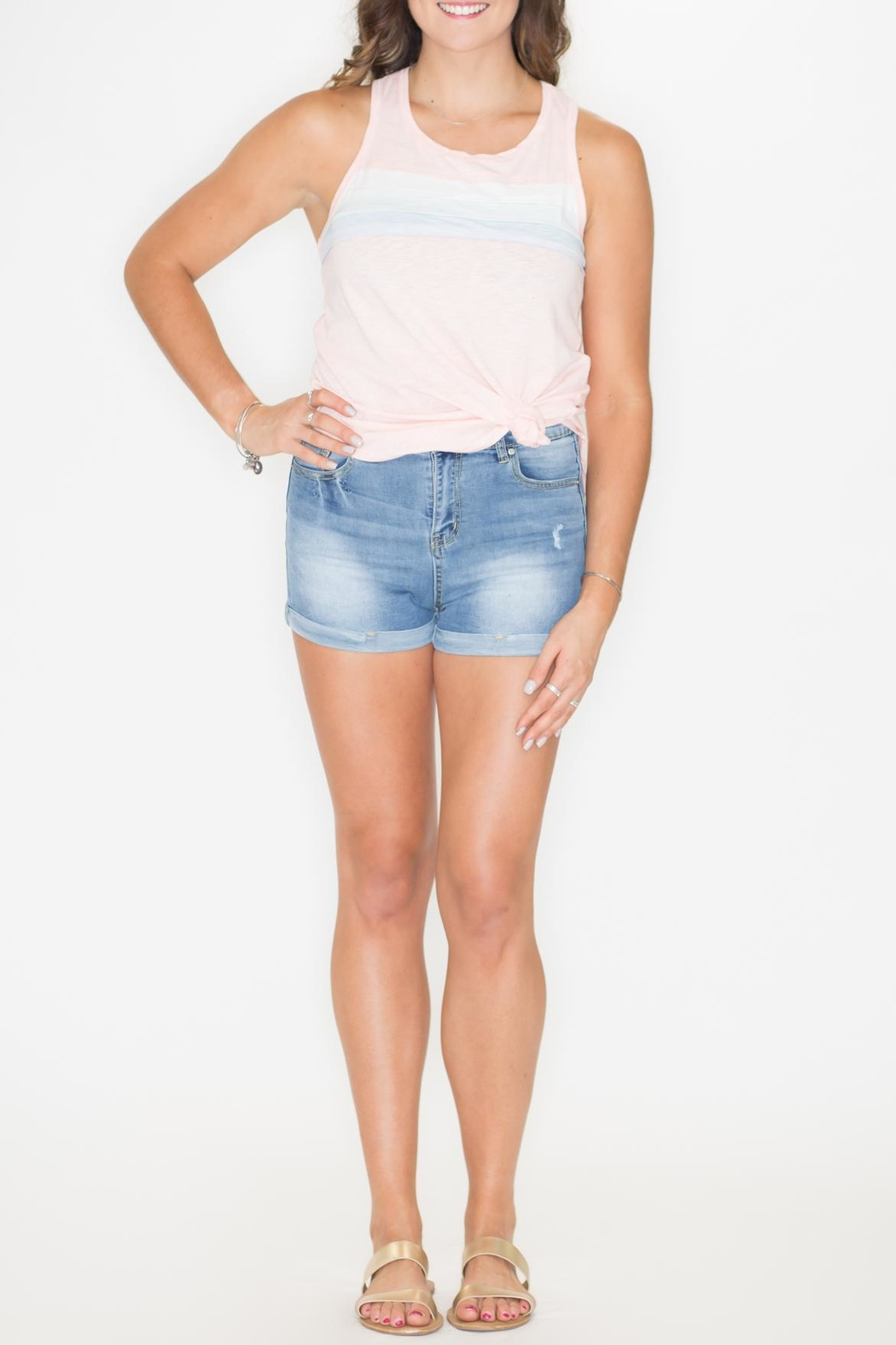 Listicle High-Rise Denim Shorts - Back Cropped Image