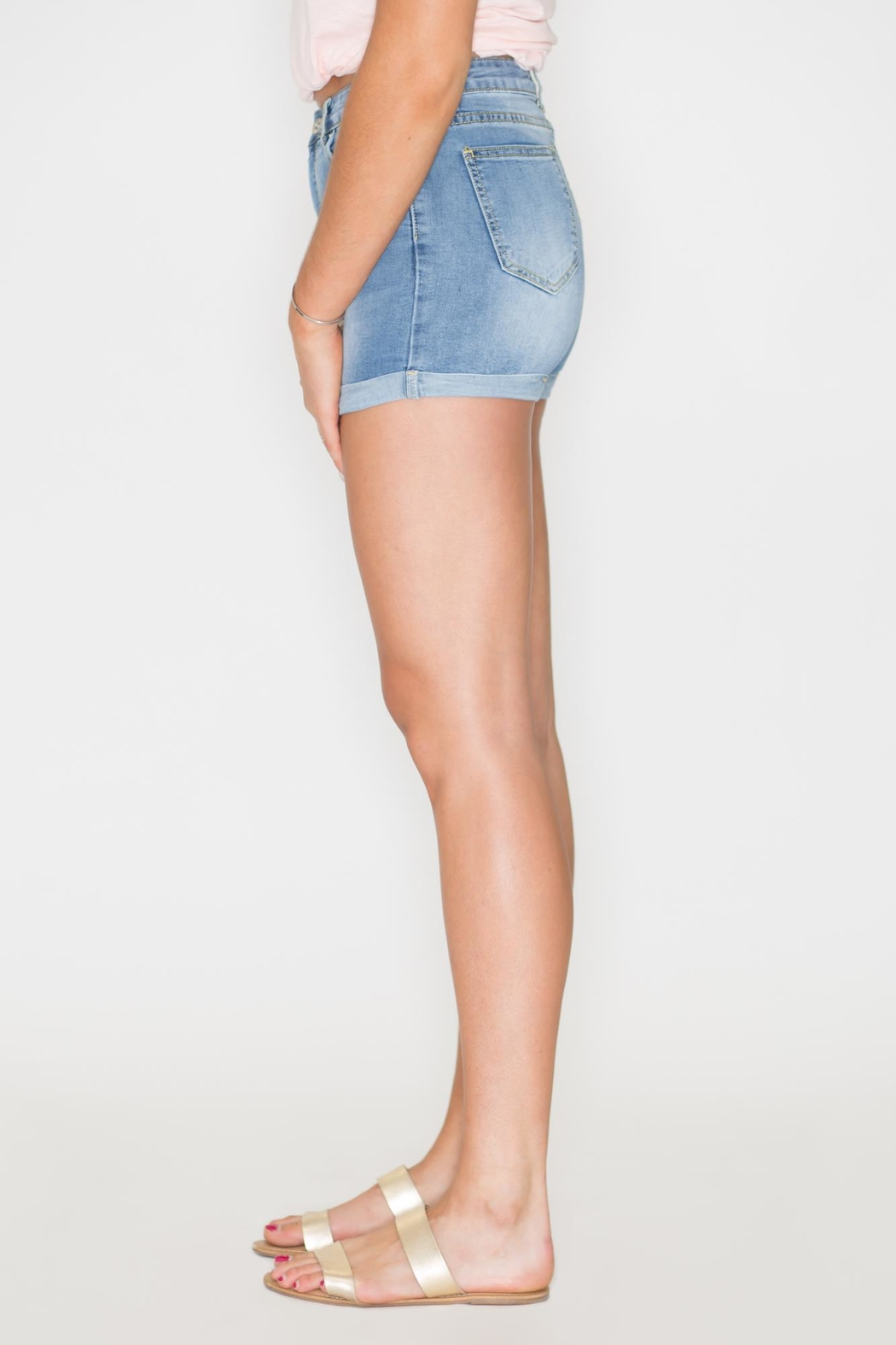 Listicle High-Rise Denim Shorts - Front Full Image