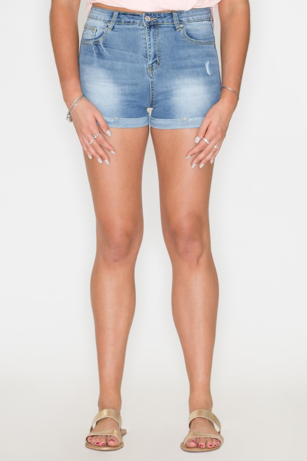 Listicle High-Rise Denim Shorts - Main Image
