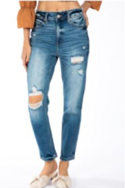 Kan Can High Rise Destressed Mom Jean - Product Mini Image