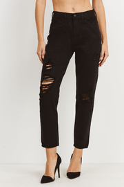 just black High Rise Destroyed Jeans - Front cropped