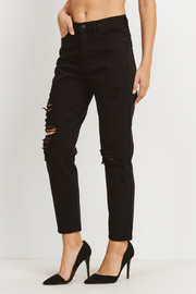 just black High Rise Destroyed Jeans - Front full body