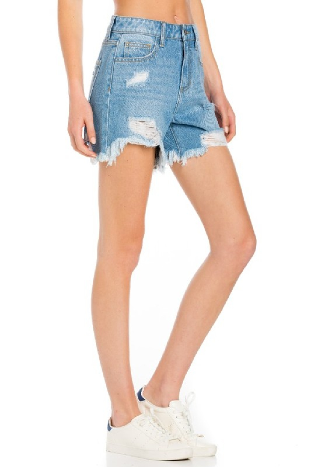 Cello Jeans High Rise Destroyed Shorts - Back Cropped Image
