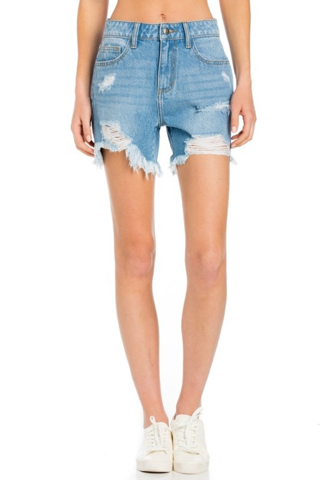 Cello Jeans High Rise Destroyed Shorts - Side Cropped Image