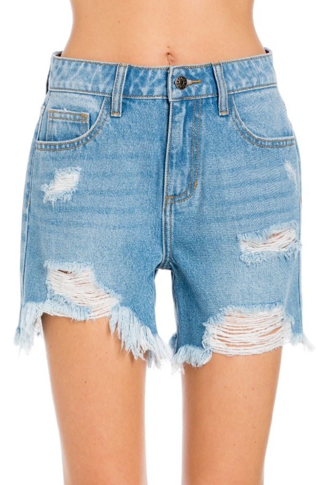 Cello Jeans High Rise Destroyed Shorts - Main Image
