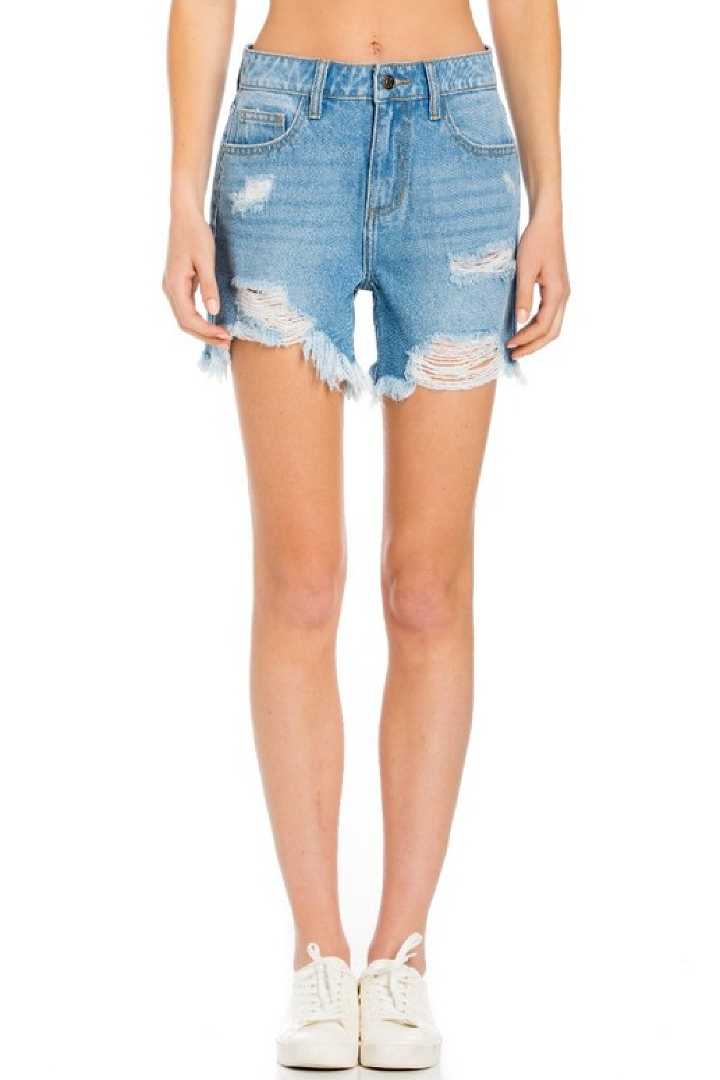 Cello Jeans High Rise Destroyed Shorts - Front Full Image