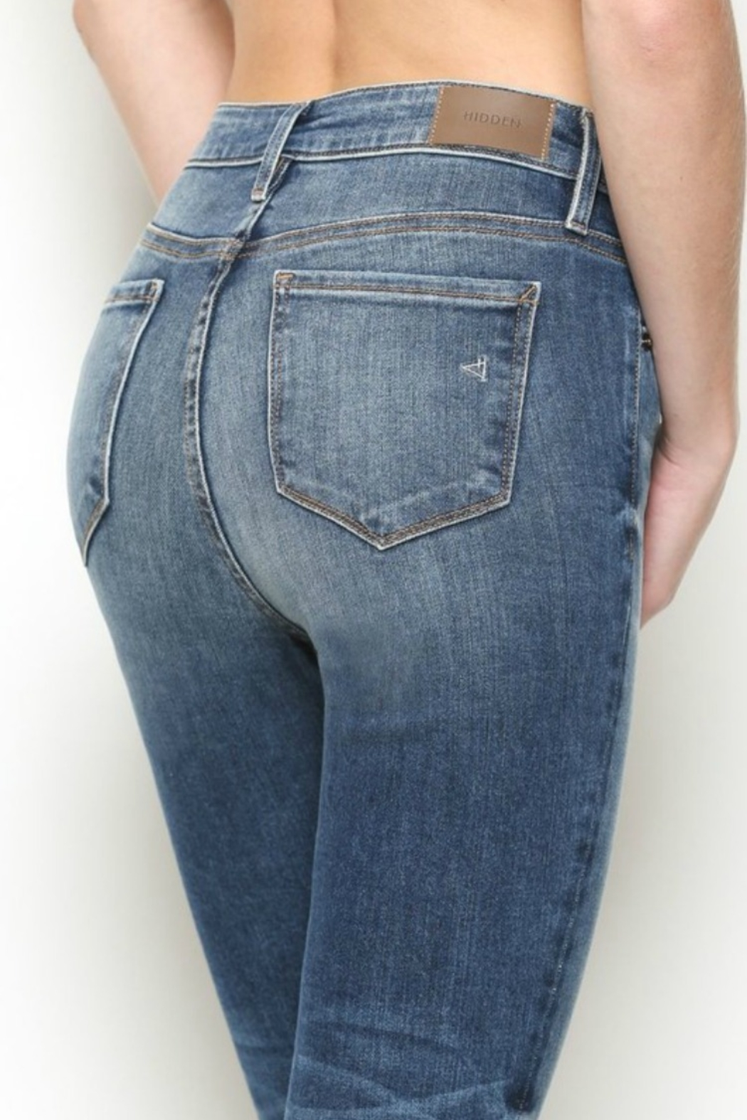 Hidden Jeans High Rise Distress Skinny - Front Full Image