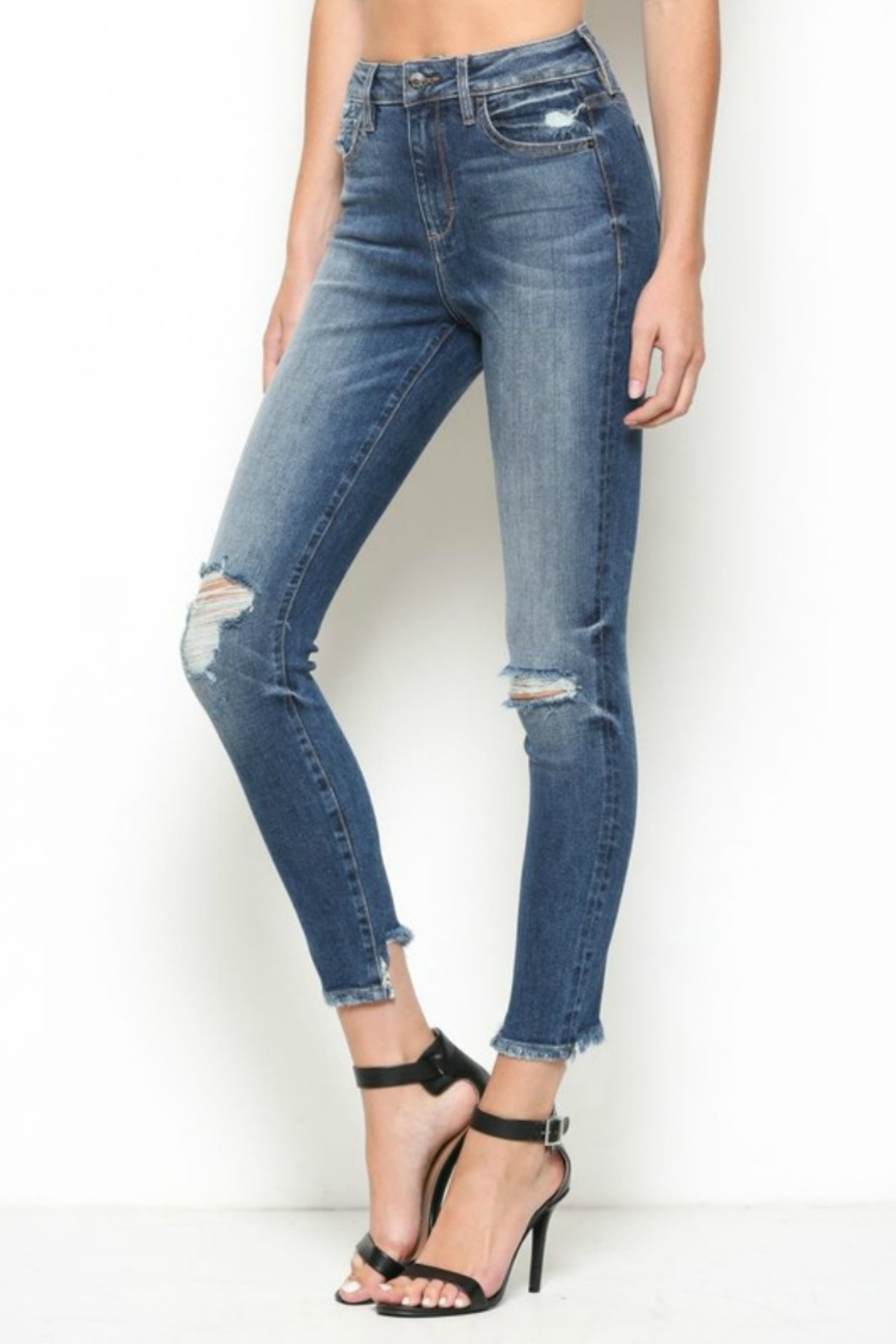 Hidden Jeans High Rise Distress Skinny - Side Cropped Image