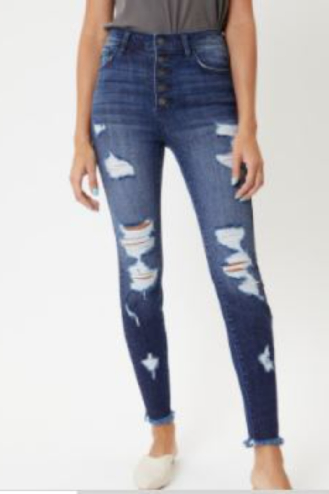 Kan Can High-Rise Distressed Ankle Skinny Jeans - Front Cropped Image
