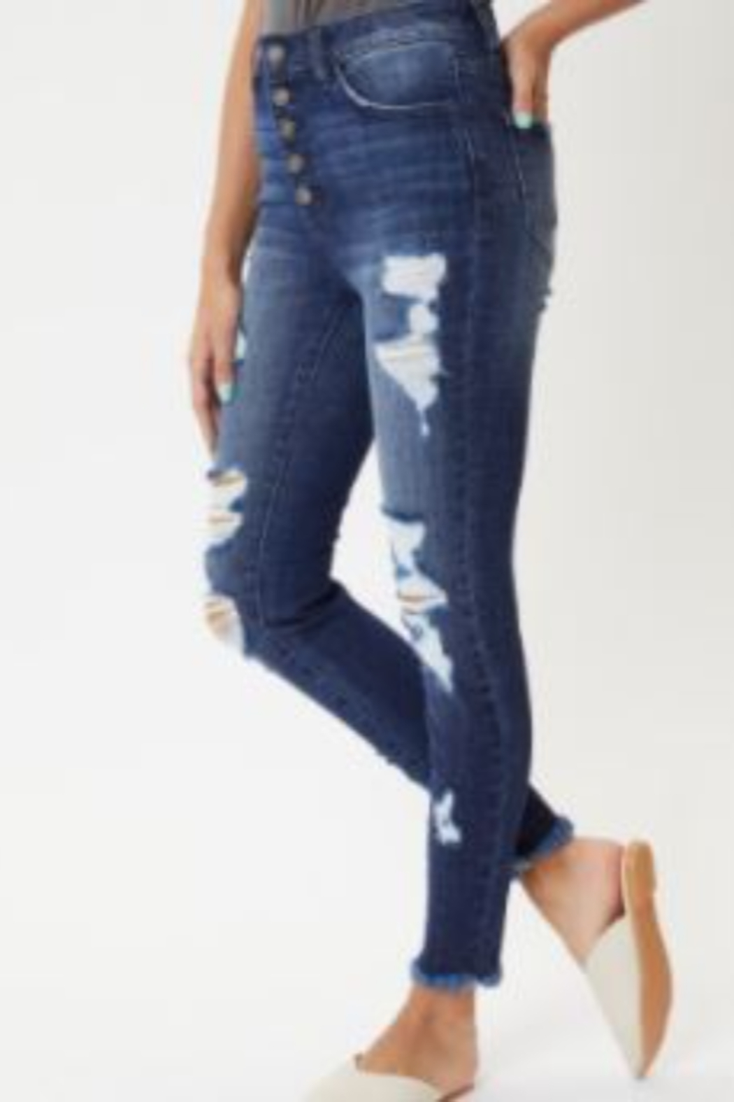 Kan Can High-Rise Distressed Ankle Skinny Jeans - Main Image
