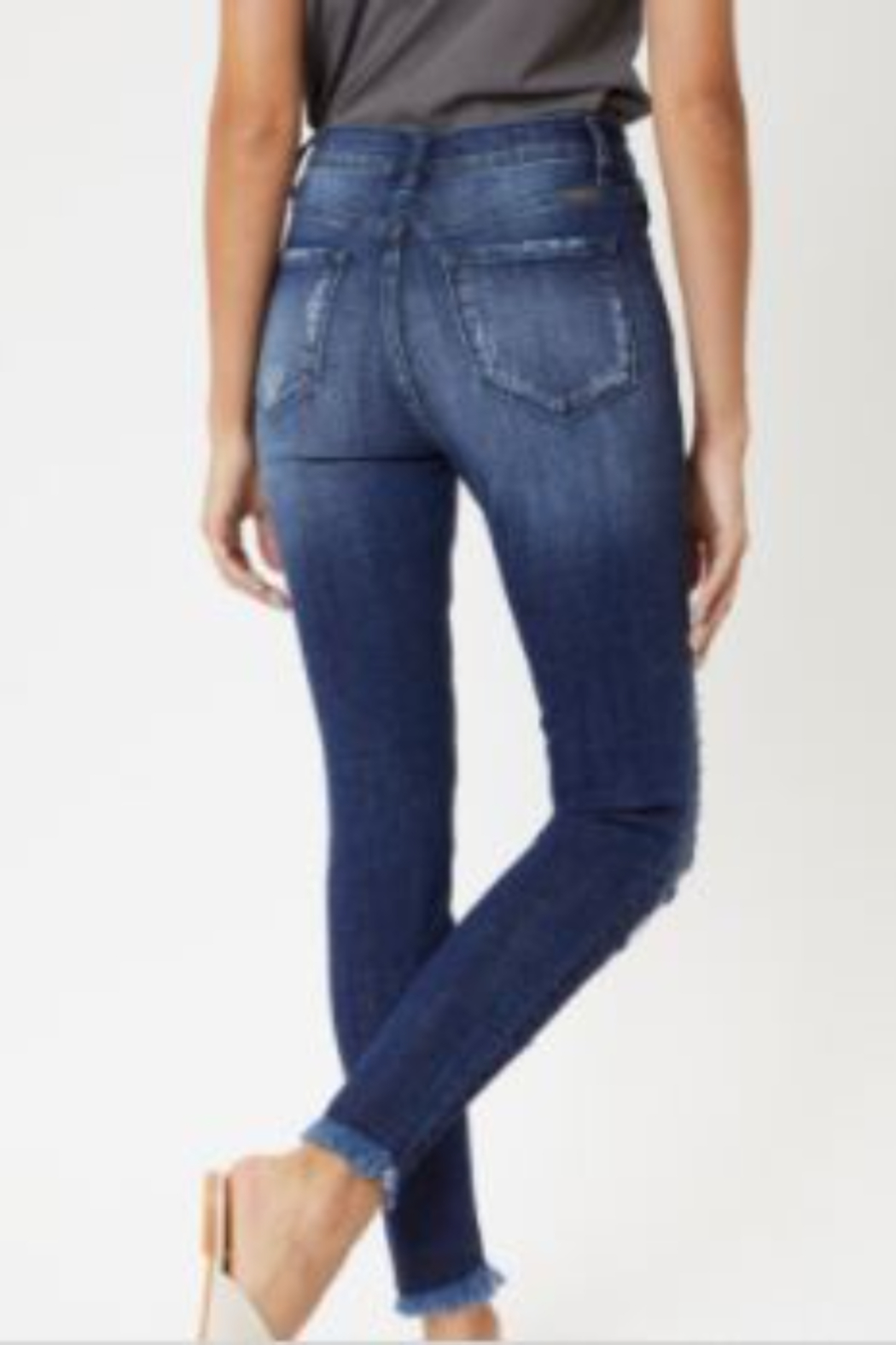 Kan Can High-Rise Distressed Ankle Skinny Jeans - Front Full Image