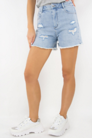 Tractr High Rise Distressed Denim Short - Product Mini Image