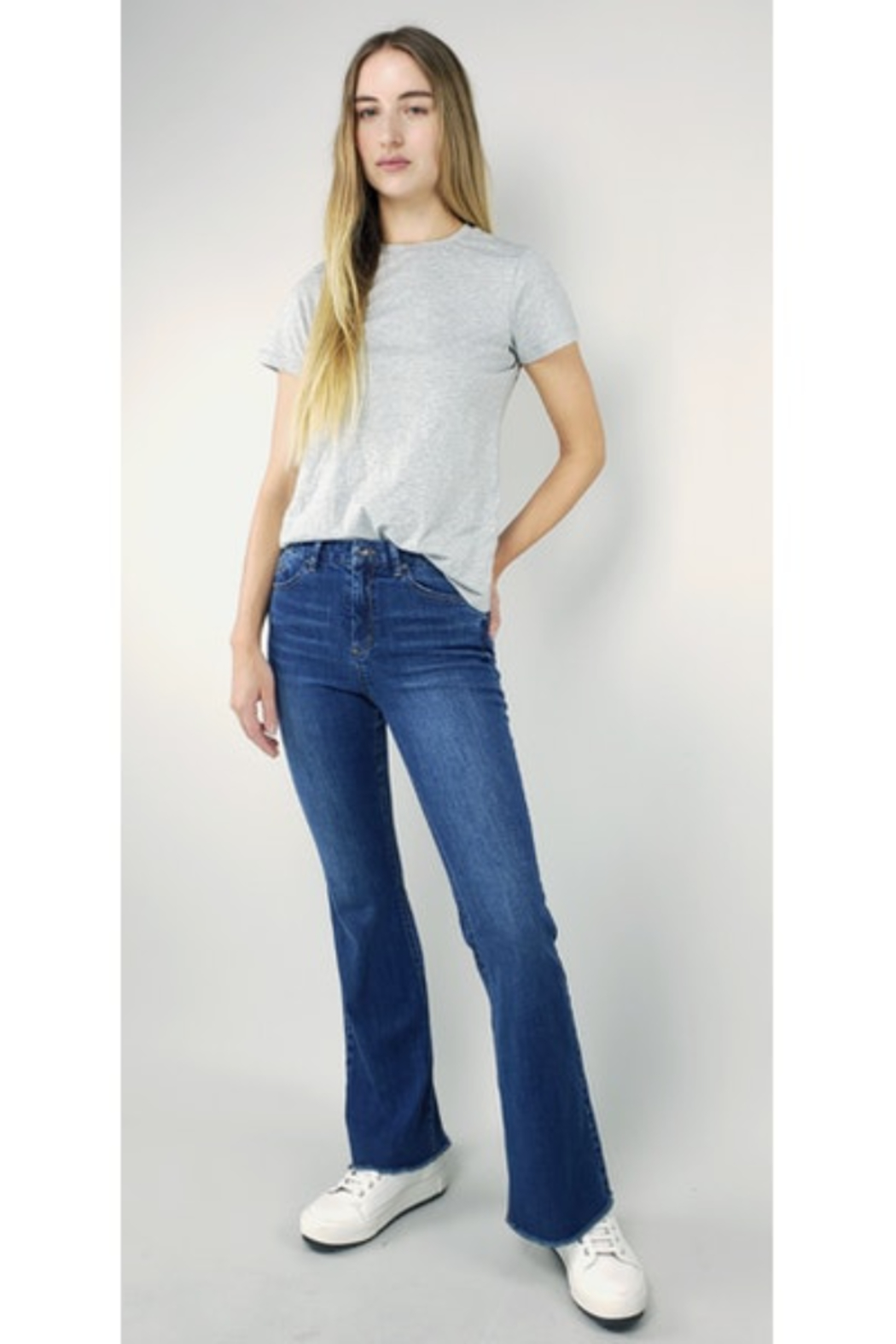 Tractr High Rise Flare Jeans - Main Image