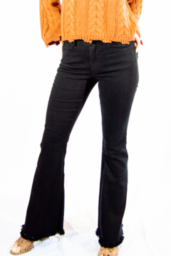 Tractr High Rise Fringe Flare Jeans - Product List Image