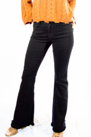 Tractr High Rise Fringe Flare Jeans - Product Mini Image