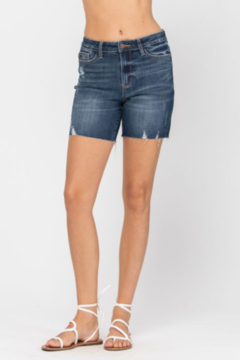 Judy Blue High Rise Mid Thigh Denim Shorts - Product List Image