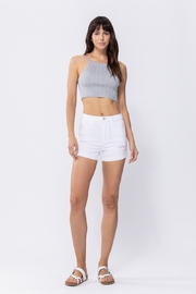 Sneak Peek High Rise Shorts with Rolled Cuff Hem and Distressing - Product Mini Image