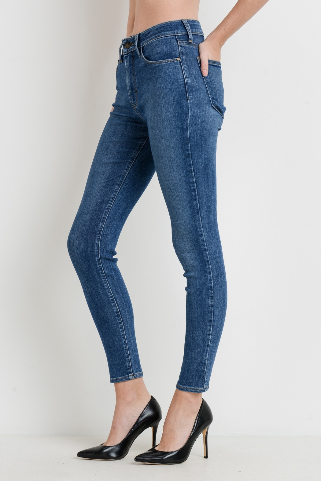 just black High Rise Skinny - Front Full Image