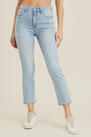 just black High Rise Destroyed Hem Straight Jeans - Product Mini Image