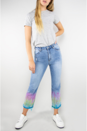 Tractr Blu High Rise Tie Dye Crop Flare Jean - Front cropped
