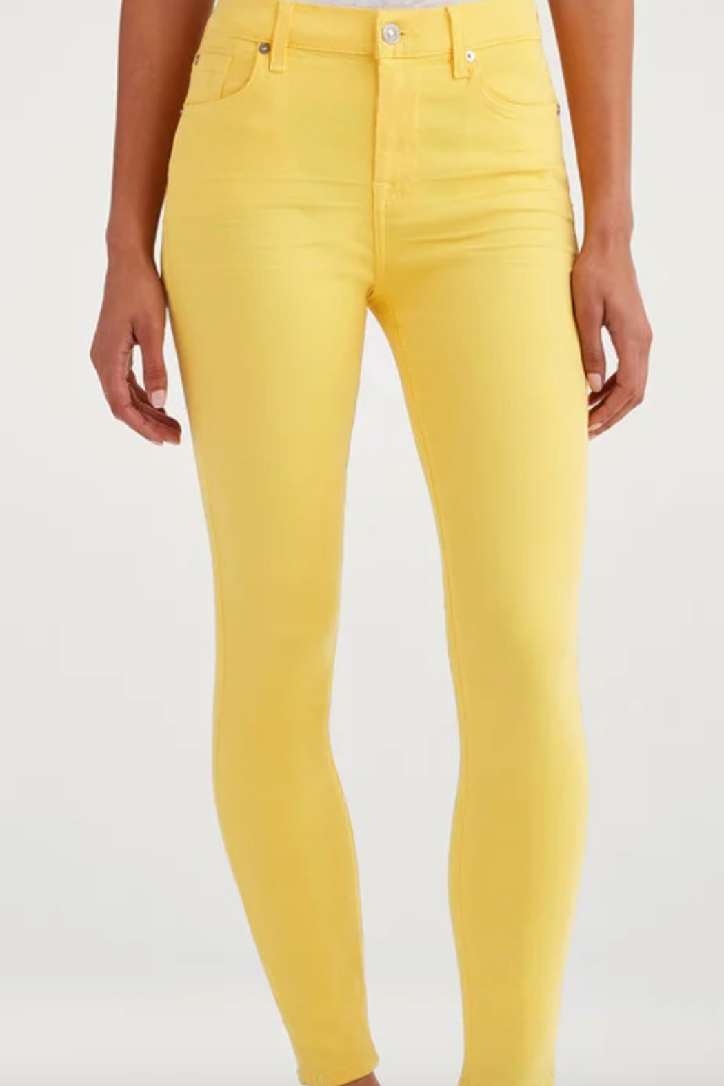 7 For all Mankind High Waist Ankle Skinny in Dandelion - Front Full Image