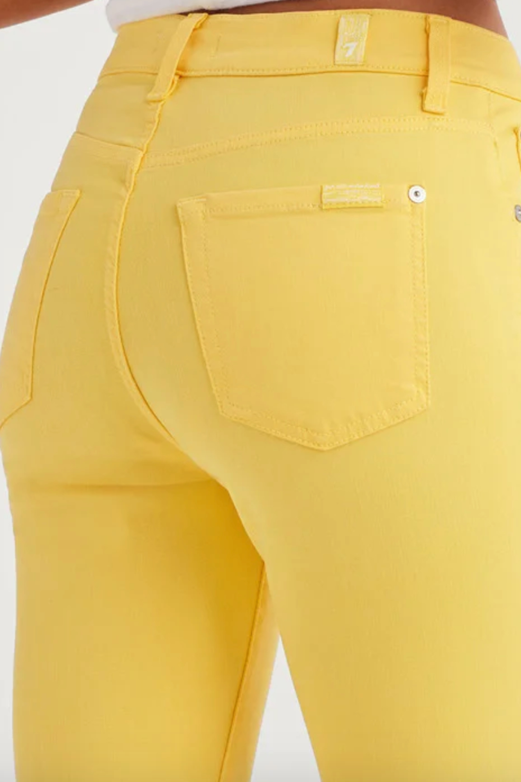 7 For all Mankind High Waist Ankle Skinny in Dandelion - Back Cropped Image