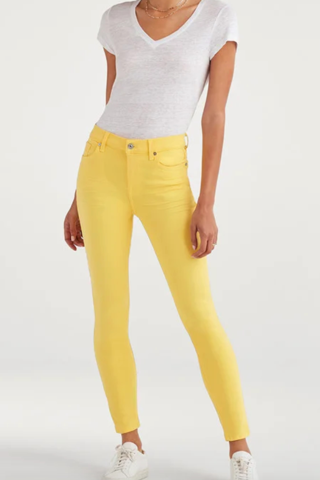 7 For all Mankind High Waist Ankle Skinny in Dandelion - Main Image